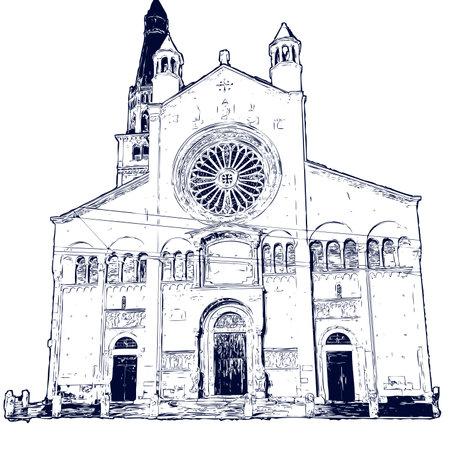 Facade of Modena Catholic Cathedal (the Dome). Vector  file. Ilustração