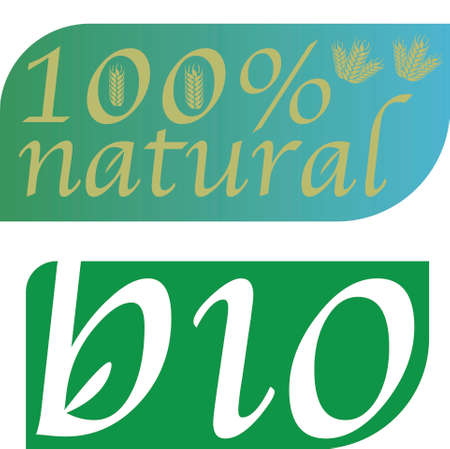 stickers for bio and 100% natural products. Concept for natural life, wellnes, green economy, recycling, bio products