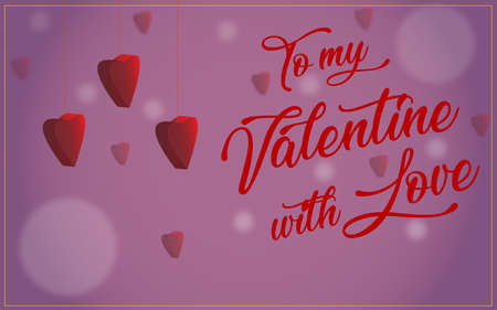 valentine card: to my valentine with love, with hearts Imagens