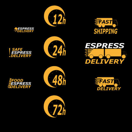 Fast delivery logo icons. Concept for international transport, quick shipping, online business