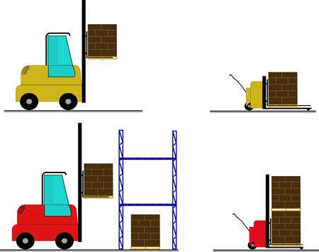 fork lift for industy applications. concept for storage, delivery industry Ilustração