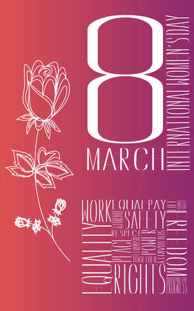Design card for international women's day, 8th march celebration Imagens