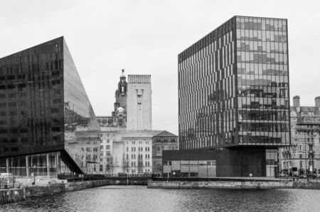 classic contrast: Liverpool, Mann Island, contrast between modern and classic Stock Photo