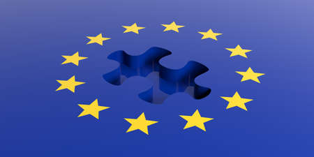 missing puzzle piece: 3d rendering european union flag, missing puzzle piece Stock Photo