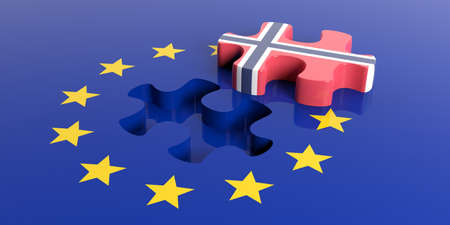 norway flag: 3d rendering European Union flag with Norway flag puzzle piece