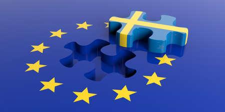 bandera de suecia: Representación 3D de la bandera de la Unión Europea con la bandera de Suecia pieza del rompecabezas Foto de archivo
