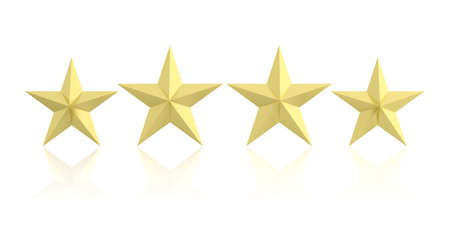 golden star: 3d rendering four golden stars in white background