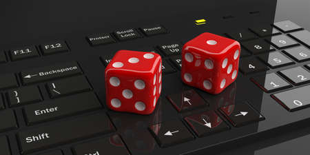red dice: 3d rendering two red dice on a black keyboard Stock Photo