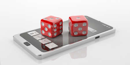 double game: 3d rendering red dice on smart phone