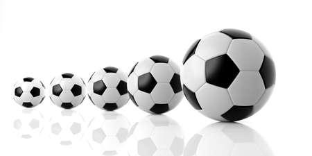 variation: 3d rendering, Black and white soccer football balls of various sizes Stock Photo