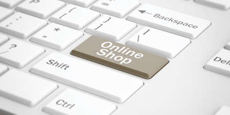 shop button: 3d rendering online shop button on a white keyboard