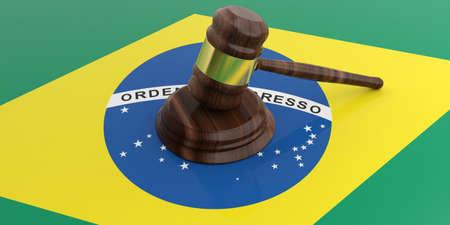law of brazil: 3d rendering gavel auction on a Brazil flag Stock Photo