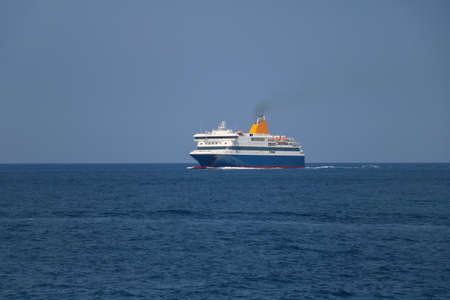 ferry boat: Big ferry boat in the sea Stock Photo