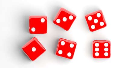 red dice: 3d rendering six red dice on white background