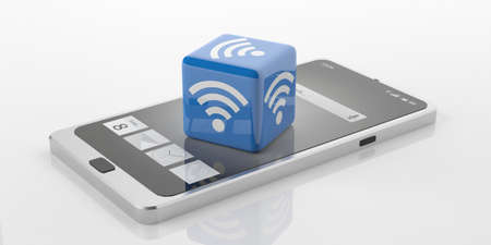 3d rendering cube with wifi symbol on a smart phone, white background Stock Photo