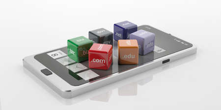 edu: 3d rendering cubes with domain extensions on a smart phone Stock Photo