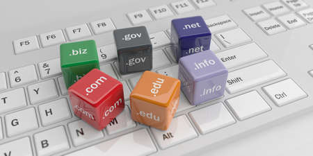 edu: 3d rendering cubes with domain names on a white keyboard Stock Photo