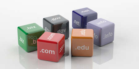 gov: 3d rendering cubes with domain names on a white background