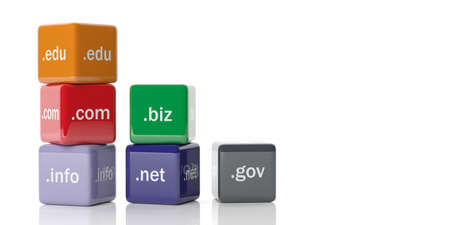 gov: 3d rendering cubes with domain extensions on a white background