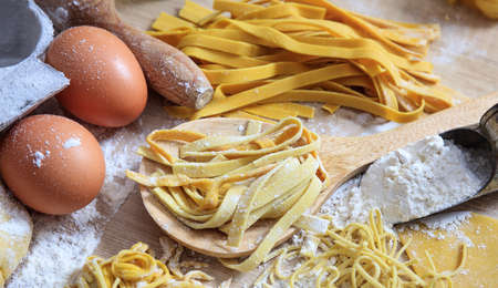 Fresh pasta homemade preparation Stock Photo