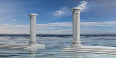 3d rendering two white marble pillars, blue sky, water background