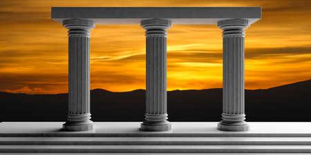 3d rendering three white marble pillars, sunrise background