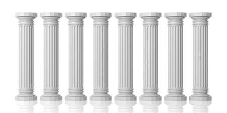 3 d レンダリング 8 白い大理石の柱の白い背景に