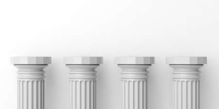 3d rendering four white marble pillars on white background