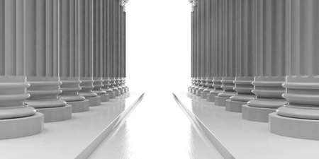 3d rendering marble pillars rows with steps