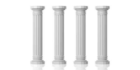 3d rendering four white marble pillars on white background