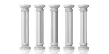 3d rendering five white marble pillars on white background
