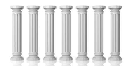 3d rendering seven white marble pillars on white background