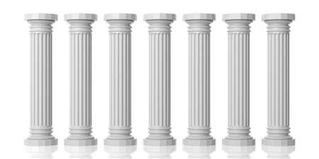 3D-Rendering sieben weißen Marmorsäulen auf weißem Hintergrund