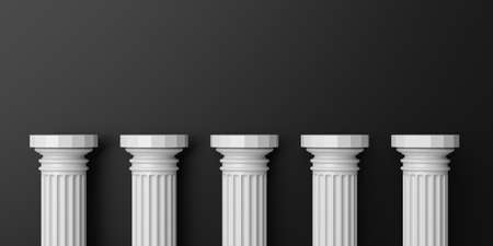 3d rendering five white marble pillars on black background