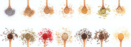 white pepper: Spices in spoons collage on white background Stock Photo
