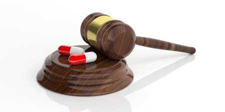 auction gavel: 3d rendering auction gavel with pills on white background