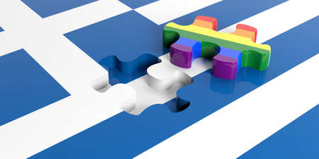 greece flag: 3d rendering gay flag puzzle piece out of Greece flag