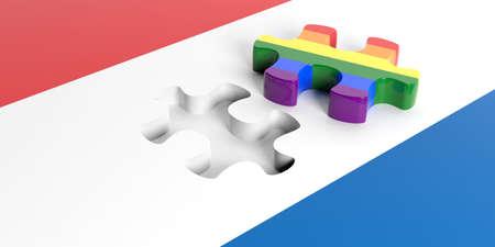 bandera gay: Representación 3d pieza del rompecabezas bandera gay de la bandera de Países Bajos