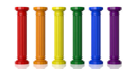 pillars: 3d rendering six rainbow colored pillars on white background