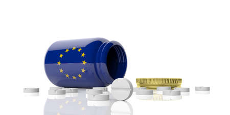 spilling: 3d rendering pills out of bottle with EU flag on white background Stock Photo