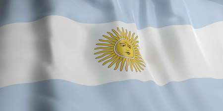 argentina flag: 3d rendering Argentina flag waving Stock Photo