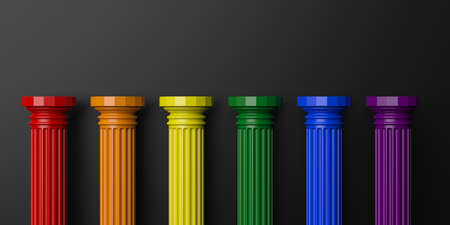 pillars: 3d rendering six rainbow colored pillars on black background