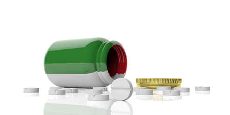 3d rendering pills out of bottle with Italy flag on white background