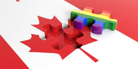 3d rendering gay flag puzzle piece out of Canada flag Stock Photo