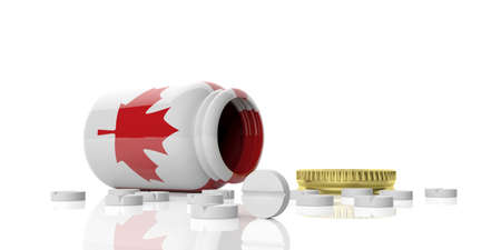 3d rendering pills out of bottle with Canada flag on white background