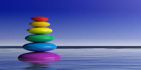 3d rendering rainbow zen stones stack on water