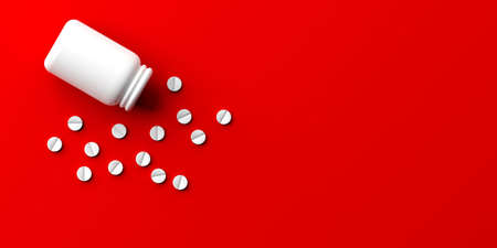 3d rendering pills spilled out of a bottle on red background