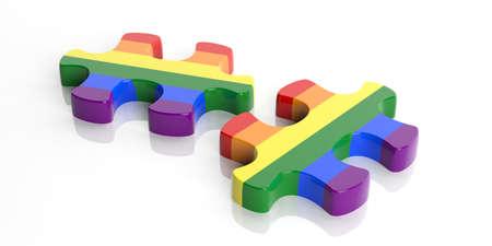 lesbienne: 3d rendering gay morceaux drapeau de puzzle sur fond blanc