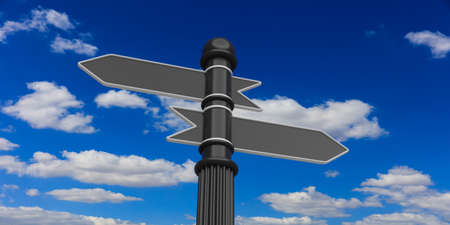 Blank space on indicators on signpole against of cloudy sky Stock Photo