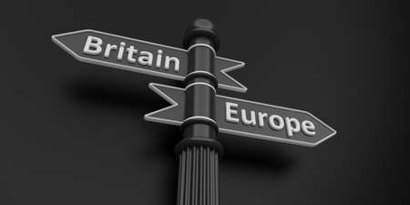 low perspective: low perspective of two indicators on grey signpost.Isolate.Britain and Europe. Stock Photo